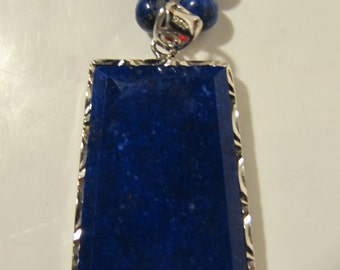 Lapis Lazuli Rectangle Necklace Dark Blue