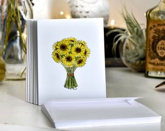 Sunflower blank notecards with envelopes
