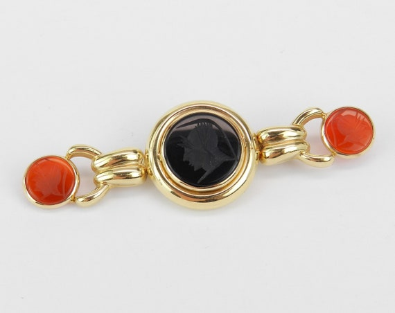 Antique Pin Estate Vintage Brooch Black Onyx and Cornelian Intaglio Brooch Pin 14K Yellow Gold