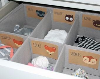 Animal Printable Baby Nursery Drawer Labels / Basket Labels - print yourself - Baby Girl, Baby Boy, Nursery Decor, Nursery Organization