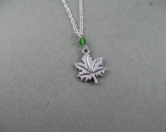 CLEARANCE - Maple Leaf Charm Necklace - silver