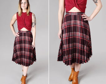 Vintage Maroon and Red Pleated Plaid Skirt- Midi Accordion Circle Full A-Line 1970s 70s College Retro Pleats Long Skirt- Size Small