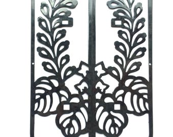 Japanese Metal Plate -  Furniture Plates -  Flower and Leaf Set of 2 (MP57)