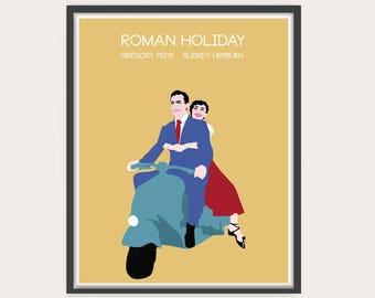 NEW! Roman Holiday, Audrey Hepburn, Minimal Movie Poster.