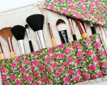 Makeup brush holder and bag, pink brush holder, roses makeup bag, Valentine's gift, roses theme gift, gift for wife