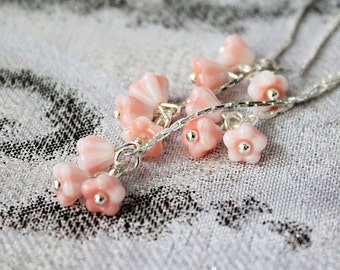pink earrings coral jewelry blush pink earrings/for/women gifts/for/friend long earrings pink gifts/for/daughter pink jewelry ideas пя255