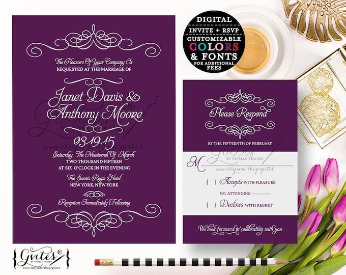 Purple wedding invitation printable, eggplant digital invites, printable wedding invitations, diy, download, template. {Digital Only}