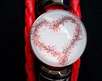Button heart number 1 red snap Leather Bracelet braided bracelet