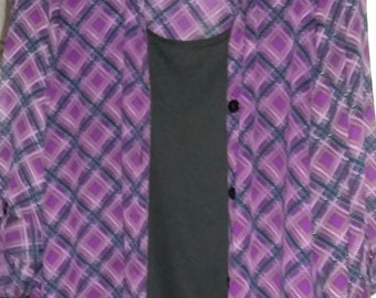 Blouse Shirt Jac.. DRESSBARN Blk.Blue.Purple Gold White, w/Attached Shell 22-24