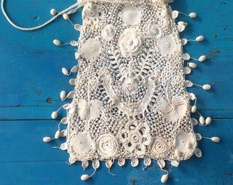 Antique Irish Crochet Drawstring Purse