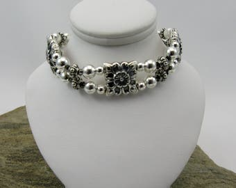 Antique silver puff square beads double row bracelet