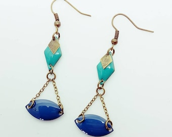 Balance earrings blue