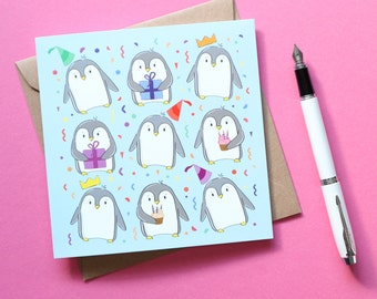 Cute Penguin Birthday Card - Illustrated Birthday Card