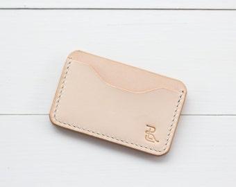 Minimalist Card Case: Natural Veg Tan Leather, wallet, Business Card Holder, Handmade
