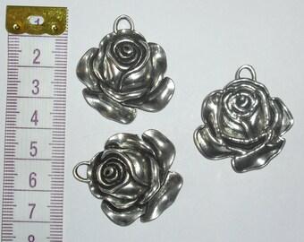 3 x Large Rose Charms *37mm*Tibetan Silver*et*