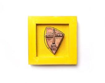 Geometrical face, Yellow sculpture, Abstract ceramics, Wall sculpture, 3D sculpture, Modern ceramics, Crazy art, Alien sculpture, Modern art