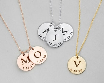 Initial Disc Necklace Coin Children Gift Personalized Initial Jewelry Mother Gift From Daughter - LCN-ID-L