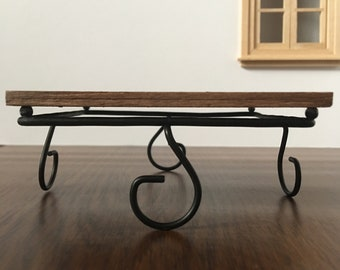 Miniature Dollhouse Wood and Metal Coffee Table 1:12 Scale