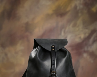 Leather backpack, Handmade