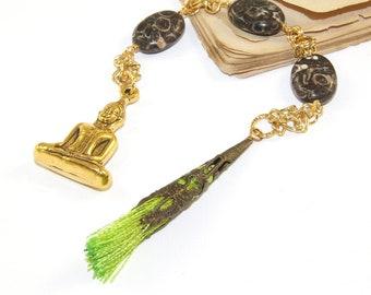 Meditation Beads, Turitella Agate, Buddha & Tassel - Ancestry Connection Prayer Beads