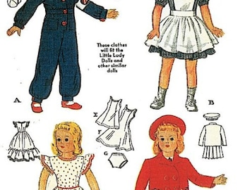 """World War II Red Cross Nurse Uniform, Coveralls, Dress, Gown Doll Clothes Pattern for 18"""" Dolls"""