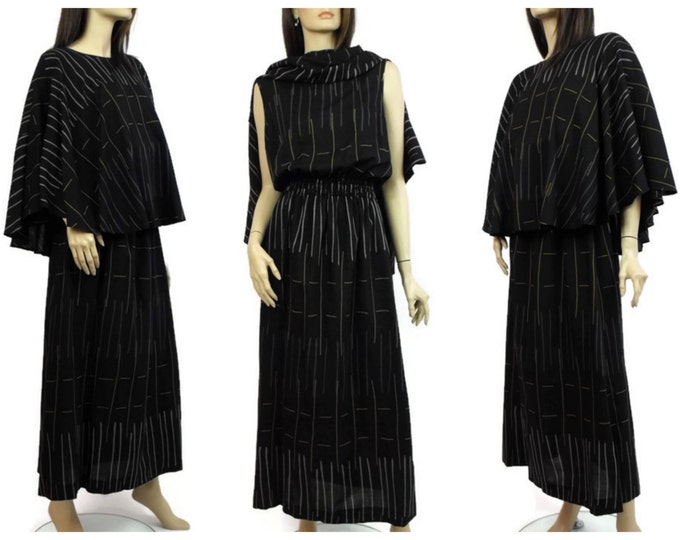 Marimekko 1970's Black Summer Weight Wool Maxi Dress / Marimekko of Finland / Designer Maxi Dress with Built- In Capelet / Ladies Med to LG