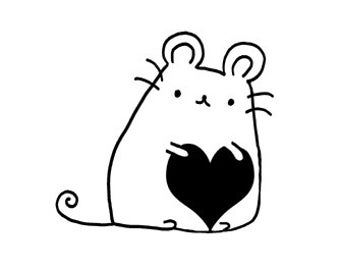 cute little mouse with heart rubber stamp