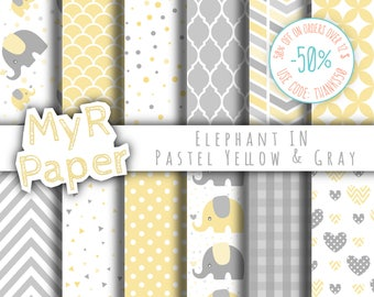 """Elephant digital paper: """"Pastel Yellow & Gray"""" elephants papers pack of backgrounds and patterns - perfect for Baby Shower"""