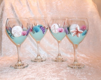 SEASHELL WINE GOBLETS,  set of four
