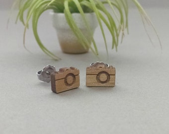 Vintage Camera Earrings - Laser Engraved on Alder Wood - Titanium Post Stud Earring Pair