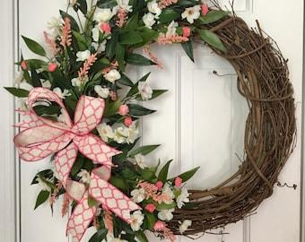 Spring Wreath, Summer Wreath, Floral Wreath, Grapevine Wreath, Front Door Wreath, Farmhouse Wreath, Elegant Wreath, Pink Wreath White wreath