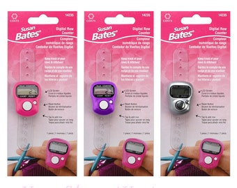 SUSAN BATES Digital Row Counter. Pink, Purple, Silver or all 3 Colors! Knit and Crochet Digital Tally Counter. Finger Ring row counter.