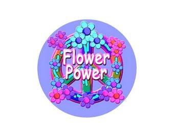 1 cabochon 25 mm glass Hippy Flower Power - 25 mm