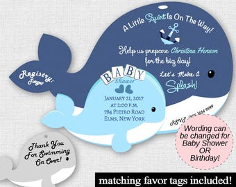 Whale Baby Shower Invitations, Nautical Baby Shower, Sailor, Boy Unique Whales Printed Invites Invite Invitation Sailor Baby Boy Blue Anchor