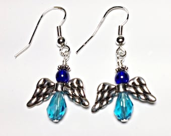 Sapphire and Turquoise Angel Earrings