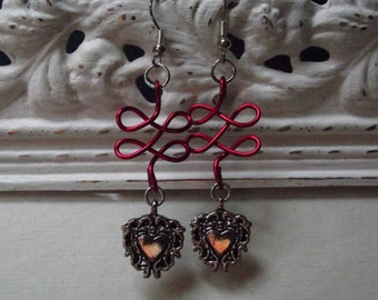 Red Loops and Hearts Earrings