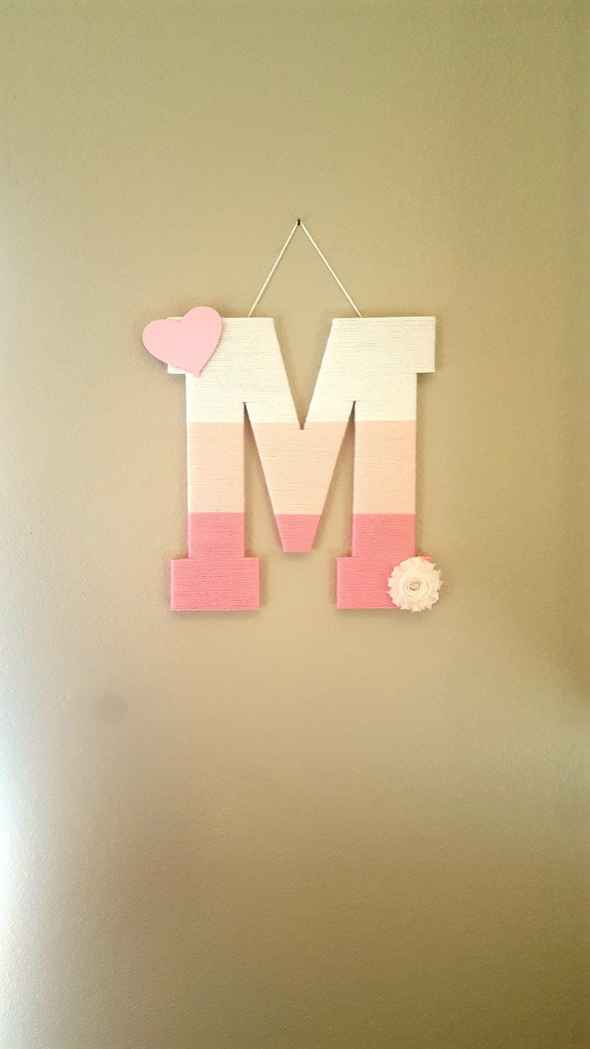 Nursery Letter M Ombre Yarn Letter Pink Wood Letter Pink