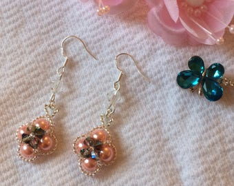 Crystal Pearl Swarovski Pendant Earrings Dangle Silver Plated Special Pink Metallic 925 Chandelier Gift Jewelry Handcrafted Holiday Chain