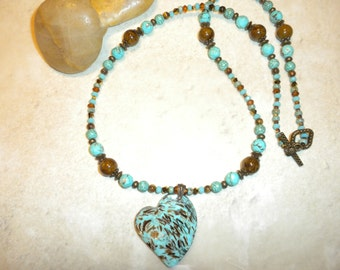 Turquoise And Bronzite Heart Necklace