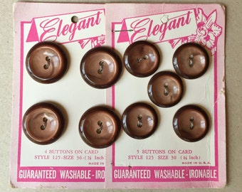 50s vintage nos mid century shiny brown buttons on original cards--2 cards--2 sizes--9 buttons