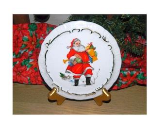 Hand Painted Santa Plaque - Wall Hanging - Porcelain Santa Christmas Plaque