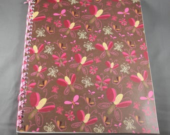 Butterfly Pattern Notebook Bound with Ribbon
