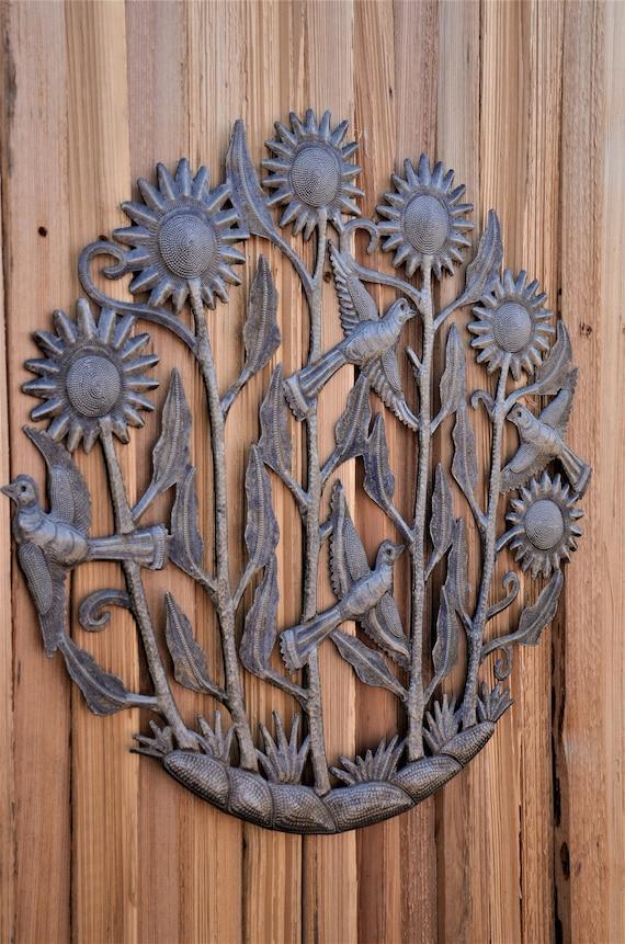 "Growing the Flowers Garden Metal Art Handmade in Haiti 23"" x 23"""