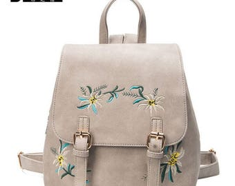 Small Floral Embroidered Leather Backpacks