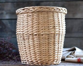 French vintage basket. Dustbin basket. French dustbin. Braided dustbin. French box. Office trash bin. French woven basket. Bohemian basket.