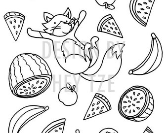 A6 Playful Fox Colouring Card - A6 colouring page, fruits colouring page, fox colouring page, colouring for children