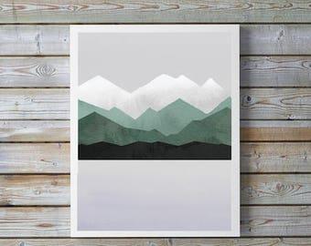 Mountain,Lake,Watercolor,Nursery,Modern,Abstract,Green,Gray, Mountain decor, Scandinvian,Wall art, A4 8.5x11,gift for nursery,home,men,cabin