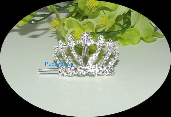 Puppy Bows ~Styles 11-15  rhinestone dog TIARA barrette pet hair clip ~USA seller