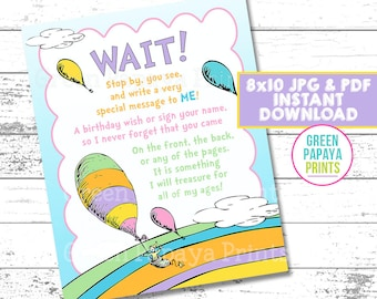 Oh The Place You'll Go Guest Book Sign, Birthday Party Sign In, 8x10, JPG & PDF, Instant Download