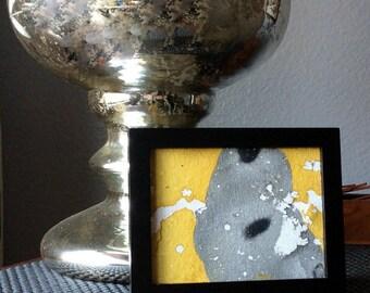 Mini abstract painting | fluid painting | framed abstract art | gold black canvas | black framed art | desktop art | mini canvas painting